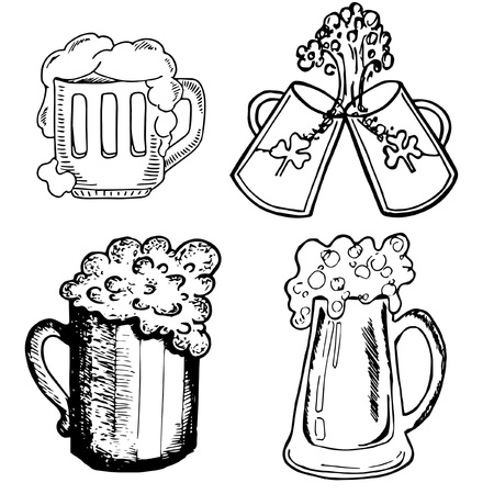 Set of beer mug sketches, beer with foam, black and white image on white background, hand drawing style, vector illustration