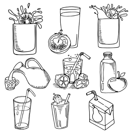 set sketches drinks, milk, juices, black and white image on white background, hand drawing style, vector illustration