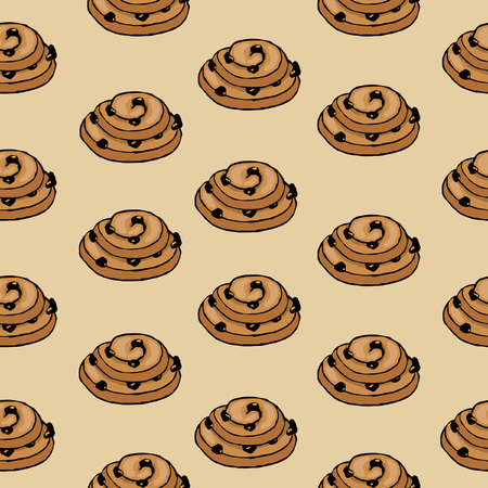 Colorful pattern with cookies with raisins, on beige background, sketches hand drawing, vector illustration Ilustração
