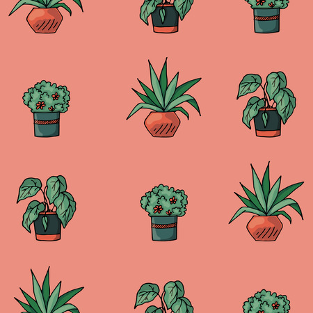 Colored seamless pattern with flowers in pots, green and pink colors, sketches hand drawing, vector illustration
