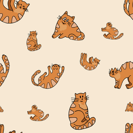 Colorful seamless pattern with stylized funny cats, sketches hand drawing, vector illustration Illusztráció
