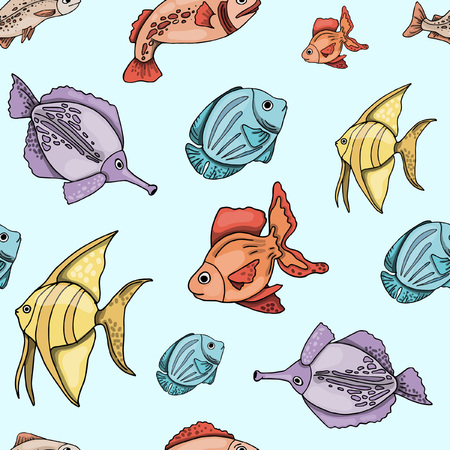 Seamless pattern with marine animals, fishes, colorful. Hand drawing sketches, vector illustration.