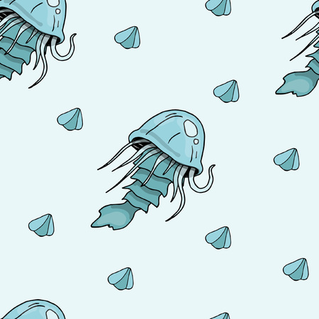 Jellyfish and seashells, marine animals, seamless color pattern, blue color, sketches hand drawing, vector illustration