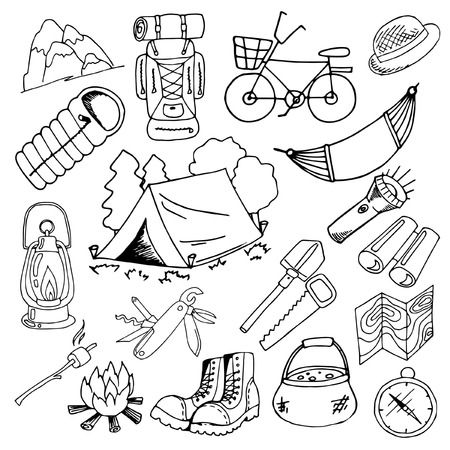 set of sketches on a theme of summer, hiking and camping, hand drawing, black and white on a white background, design elements, vector illustration