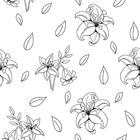 seamless pattern garden flowers lily, leaves, design elements, black and white sketches on a white background, hand drawing, vector illustration