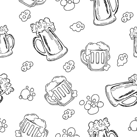 seamless pattern beer mug sketches, beer with foam, black and white images on white background, hand drawing style, vector illustration