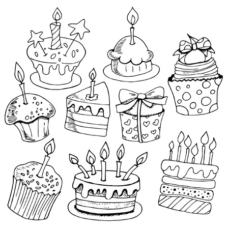Set of sketches baking, birthday cakes, desserts, black and white on white background, hand drawing style, vector illustration Illustration