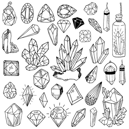Large vector collection of black line crystals or gems, isolated objects on a white background, for design of clothes, prints, cards Vector Illustratie