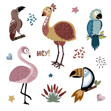 Sammlung von bunten isolierten afrikanischen Cartoon-Vögeln mit Pflanzen, auf weißem Hintergrund, Schriftzug, Handzeichnung plus flach, Vektorillustration für Kinderkleidungsdruck, Poster oder Banner Vektorgrafik