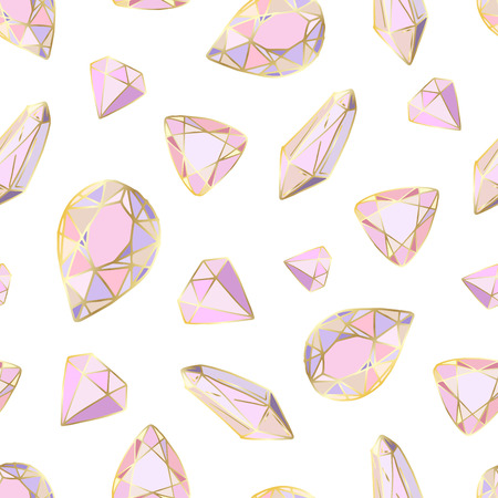 Nahtloses Muster mit vektorfarbenen Kristallen oder Edelsteinen, auf weißem Hintergrund, für die Gestaltung von Kleidung, Textilien, Geschenkpapier Vektorgrafik