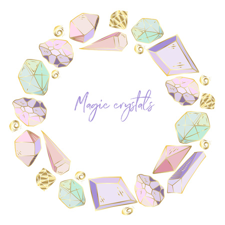Colorful hand drawn round frame for text, wreath made of elements - crystals and gems - on white background, vector illustration for print, card, invitation. Vector Illustratie