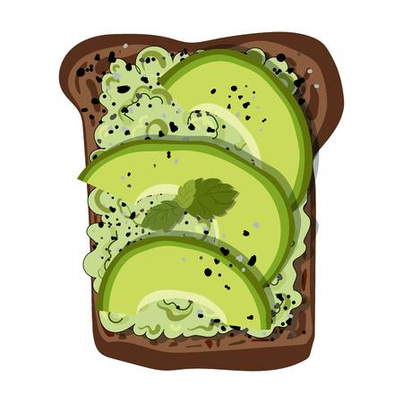 Illustrazione vettoriale - pane tostato con fette di avocado, con spezie ed erbe aromatiche, su pane nero, sfondo bianco. Cibo naturale sano. Elemento per la progettazione di menu, banner, stampa.