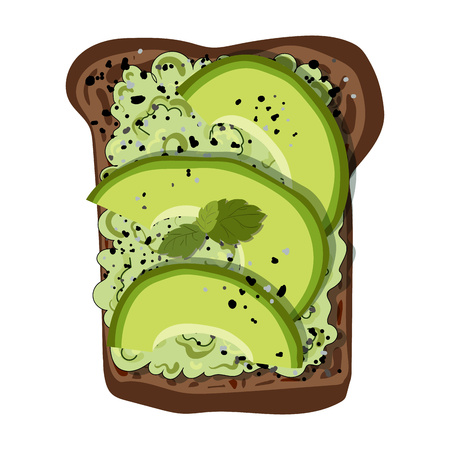 Vector illustration - toast with slices of avocado, with spices and herbs, on black bread, white background. Healthy natural food. Element for menu design, banner, print.