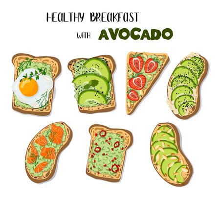 Ensemble d'images vectorielles - toasts à l'avocat sur pain blanc, avec différentes garnitures, petit-déjeuner sain, nourriture naturelle. Dessin à la main et plat. Illustration pour l'impression, éléments de conception de menu. Vecteurs