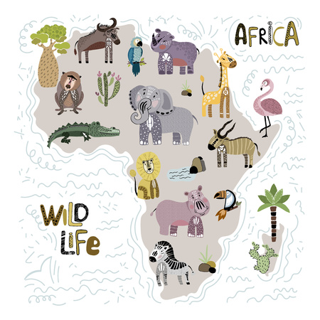 Vector illustration with outline of Africa and African animals, stylized map, lettering, flat and hand drawing, poster for childrens room, nursery, print, cards Ilustração