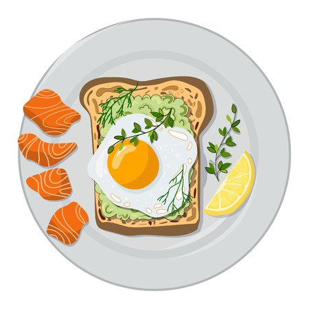 Vector illustration - toast with avocado, fried egg and salmon with a lemon, served on a plate, white background. Healthy food. For menu design, banner, magazine article.
