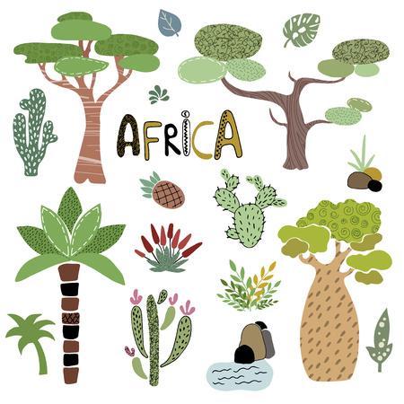 Handzeichnungssammlung von bunten isolierten Elementen - stilisierte afrikanische Bäume - Palmen, Baobab, Kakteen, tropische Blätter und Pflanzen auf weißem Hintergrund, Vektorillustration
