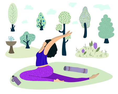 A young woman, a girl practices yoga, performs exercises, meditation and pranayama. Healthy lifestyle and sports in nature in the park. Vector illustration Illustration
