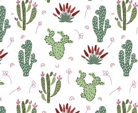 Vector seamless pattern with African tropical cacti, succulents and leaves on white  background, endless texture - for design kids clothes, home textiles, nursery posters, greeting cards Ilustração