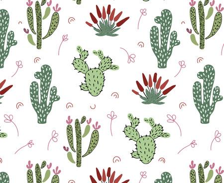 Vektornahtloses Muster mit afrikanischen tropischen Kakteen, Sukkulenten und Blättern auf weißem Hintergrund, endlose Textur - für Design-Kinderkleidung, Heimtextilien, Kindergartenposter, Grußkarten Vektorgrafik