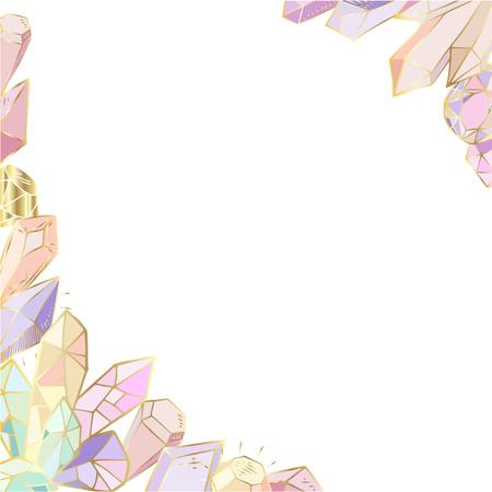 Bunter handgezeichneter Eckrahmen für Text, aus Elementen - Kristalle und Edelsteine - auf weißem Hintergrund, Vektorgrafik zum Drucken auf Karten, Einladungen, Rohlingen. Vektorgrafik