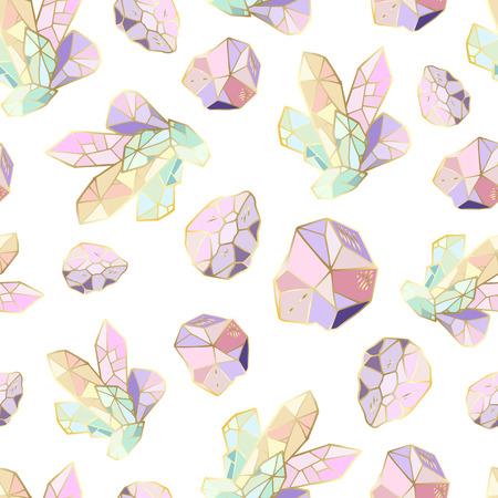 Vektornahtloses Muster mit Kristallen und Edelsteinen in verschiedenen Formen, Schmuckstein, auf weißem Hintergrund, endlose Textur für Textilien, Drucke