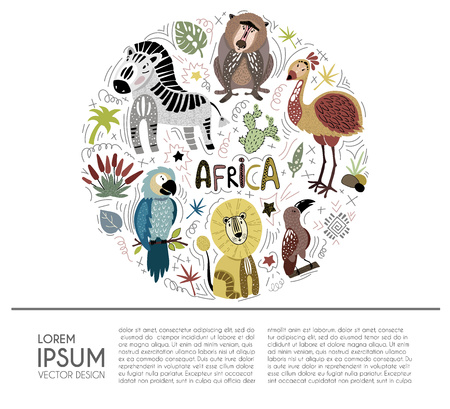 Collection of cartoon African animals - zebra, monkey, lion, parrot - arranged in circle with sample text. On white background. Design for cover, poster or web article, kids book. Vector flat, hand drawing