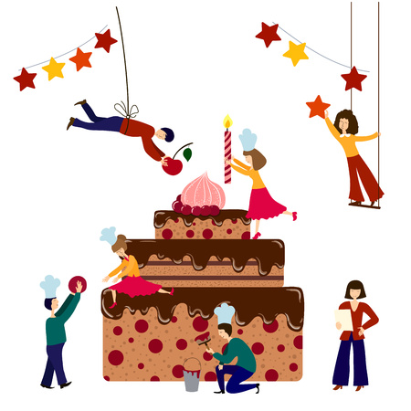 Group of small people - men and women - are cooking and decorating giant birthday cake, vector illustration, teamwork concept for cake shop poster, banner, advertising.