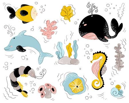 vector illustration, sea animal, underwater world, wildlife, ocean set, cute characters, nursery poster,