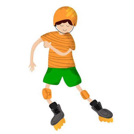 Cute cartoon boy smiling and riding roller skates. A child or kid doing sports, plays. Character on a white background. Vector, flat style and hand drawn texture, trendy noises.