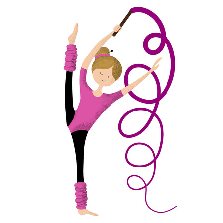 Cartoon cute girl practicing with gymnastic tape, flexible beautiful little gymnast in pink suit, child or kid doing sports. Healthy activities. Vector flat, trendy noises