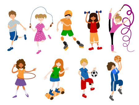 Cute cartoon children or kids, girls and boys, play sports or train. Ball game, gymnastics, athletic, skateboarding. Vector set of characters on white background. Flat and hand drawn texture, noises