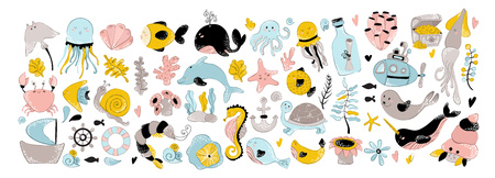 vector huge set of illustration - sea animal, plant, coral, underwater world and wildlife, ocean set, cute characters, nursery poster, seperated elements Illustration