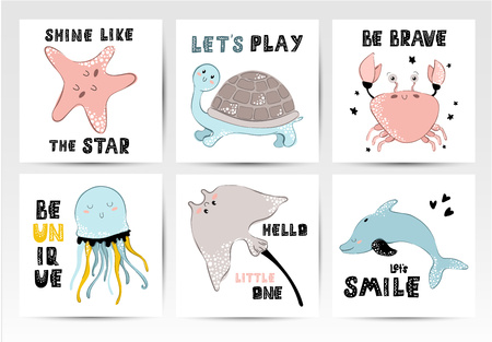 Set of vector trendy kids, nursery postcard or poster template with cute sea animals - cartoon characters and lettering phrases, underwater world, ocean in Scandinavian style