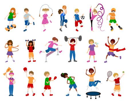 かわいい漫画の子供や子供、女の子と男の子は、スポーツや電車をプレイ。ボールゲーム、体操、アスレチック、スケートボード。白い背景の文字のベクトルセット。フラットとノイズ ベクターイラストレーション