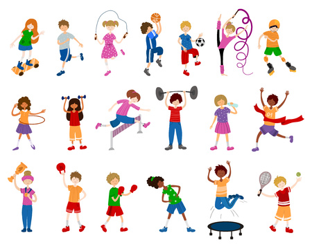 Niños de dibujos animados lindo o niños, niñas y niños, juegan deportes o entrenan. Juego de pelota, gimnasia, atletismo, skate. Vector conjunto de caracteres sobre fondo blanco. Plano y ruidos Ilustración de vector