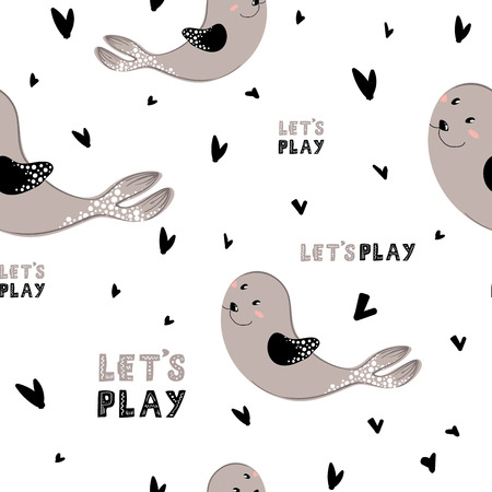 Seamless vector pattern with cartoon cute seal and lettering (lets play) on white background. Underwater oceanic animal. Illustration for print, textile, fabric, wrapping paper