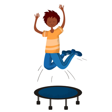 Cartoon cute boy jumping on trampoline, child or kid doing sports. Little athlete in uniform jumping, white background. Healthy activities. Vector flat with trendy noises Stock Illustratie