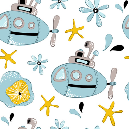 Seamless vector pattern with cartoon submarine, cute starfish and seaweed on white background. Underwater oceanic animal. Illustration for print, textile, fabric, wrapping paper Archivio Fotografico - 121113890