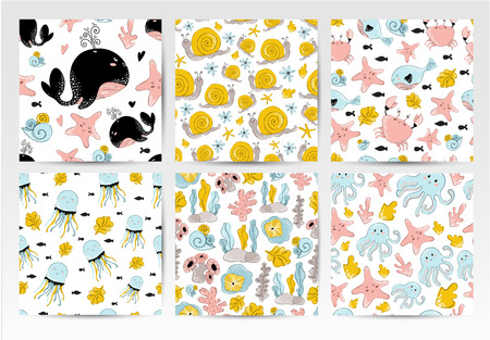 Collectoin or set of seamless vector pattern with cartoon cute sea or ocean animals, coral and plants on white background. Underwater world. Illustration for print, textile,  wrapping. Scandinavian style