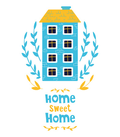 Cute cartoon house, sweet home, bright colors, lettering. Flat vector illustration for greeting card or poster template, print