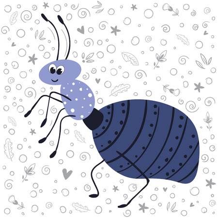 Vector cute cartoon bug or beetle - ant, flat and doodles, scandinavian style. Isolated object on white background. Ideal for print, greeting card, nursery poster