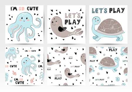 A set of card templates and seamless patterns with sea animals and lettering, cute underwater characters. Ideal for greeting, motivating cards, nursery posters. Vector, Scandinavian style