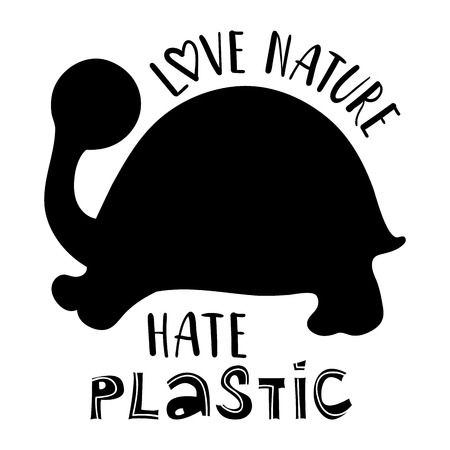 Ecology concept, poster with black turtles silhouette and lettering (love nature, hate plastic) on white background, saving the oceans, vector flat image