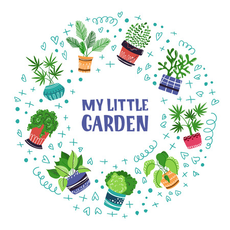 Round frame of home plants, flowers in pots, home garden or greenhouse, lettering, isolated elements on white. Flat style, Scandinavian. Vector illustration