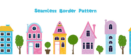 Seamless border pattern with cute cartoon houses or homes, trres, bright colors, vector flat illustration 일러스트