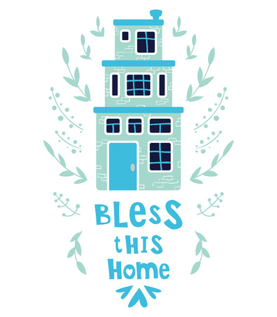 Cute cartoon house or home, bright colors, lettering - bless this home. Flat vector illustration for greeting card or poster template, print
