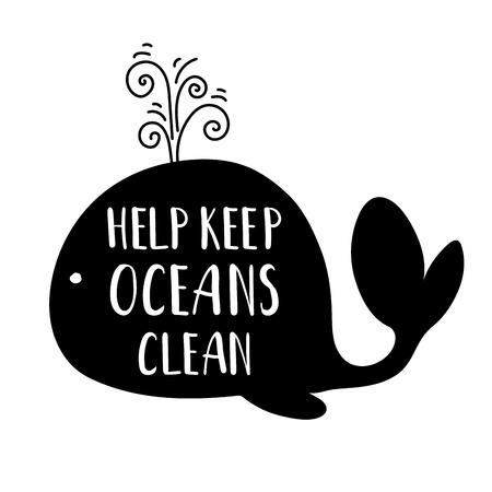Ecology concept, poster with black whales silhouette and lettering (clean oceans) on white background, saving the oceans, flat image