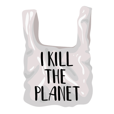 Ecological concept - plastic bag or package, lettering - I kill planet. Problem of plastic trash, pollution of planet, oceans. Environmental Protection.