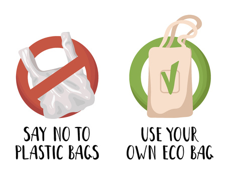 Ecological concept - plastic bag or package and eco textile bag, lettering. Ecological problem of plastic trash and pollution of the planet, the oceans. Environmental Protection. Vector flat image.